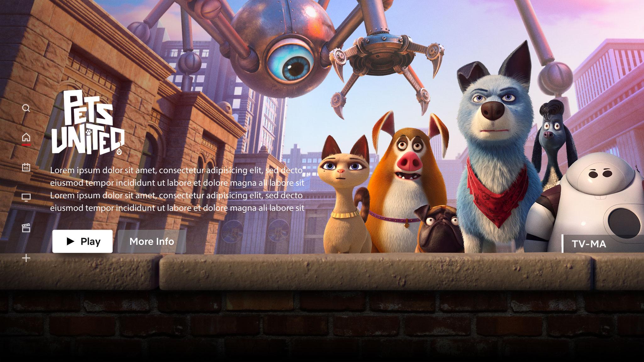 Pets United | Netflix Billboard Concept, Finishing & Illustration